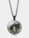Vintage Glass Printed Women Necklace Cat Owl Pendant Necklace Jewelry Gift - Black
