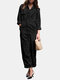 Solid Color Pocket Button Long Sleeve Casual Jumpsuit for Women - Black