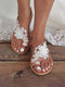 Large Size Women Beach Flower Lace Strappy Clip Toe Sandals - White