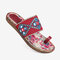 LOSTISY Folkways Embroidered Clip Toe Bohemian Flat Beach Sandals - Red