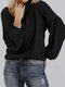 Solid Color Lantern Sleeves O-neck Casual Sweater For Women - Black