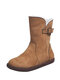 Women Solid Color Casual Round Toe Side Zipper Warm Cotton Snow Short Boots - Brown
