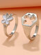 2 Pcs Trendy Brief Butterfly Hollow Out Alloy Rings - Silver