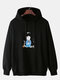 Mens Cotton Cartoon Cat Print Solid Color Drawstring Hoodies With Muff Pocket - Black