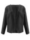 Solid Color Long Sleeve Casual Coat For Women - Black
