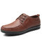 Men Brief Comfy Microfiber Leather Wearable Soft Driving Flat Shoes - Brown