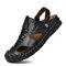 Men Outdoor Hand Stitching Closed Toe Soft Non Slip Casual Leather Sandals - Black