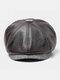 Men Faux Leather Retro Casual Solid Color Forward Hat Octagonal Hat Flat Cap - Dark Coffee