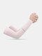 Женщины ледяной шелк сплошной цвет письмо печати длинные рукава защиты от солнца - Розовый
