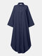 Solid Color Hollow Button Pocket Long Sleeve Casual Dress for Women - Dark blue