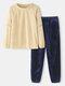 Women Plush Round Neck Raglan Sleeve Comfy Pullover Loungewear Set With Jogger Pants - Beige