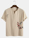 Designer Mens 100% Cotton Breathable Bird Embroidery Notch Neck Chinese Style T-Shirts - Apricot