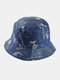 Women & Men Double-sided Starry Sky Letters Painting Windproof Soft All-match Travel Bucket Hat - Blue