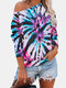Tie Dye Printed O-neck Long Sleeve Casual Blouse - Blue
