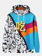Mens Colorblock & Cow Print Patchwork Loose Drawstring Hoodies With Muff Pocket - Blue