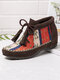 Plus Size Women Folkways Colorblock Striped Comfy Suede Non Slip Tassel Lace-up Ankle Boots - Brown