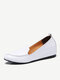 Women Casual Solid Color Pointed Toe Quilting Slip On Increased Heel Loafers Shoes - White