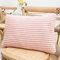 Striped Flannel Rectangular Pillowcase Backrest Cover Cushion Cover Pillowcase - Pink