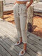 Casual Solid Color Button Pants With Pocket - Beige