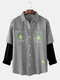 Mens Striped Leaves Print Patchwork Double Pockets Shacet Faux Twinset Shirt - Dark Blue