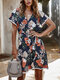 Cross Wrap Laced Floral Print Short Sleeve Dress For Women - Navy