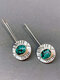 Vintage 925 Silver Plated Women Earrings Alloy Carved Turquoise Pendant Earrings - Silver