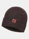 Men & Women Plus Thicken Warm Ear Protection Flanging Leather Label Decoration Knitted Hat Brimless Beanie - Coffee