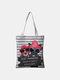 Women Canvas Cat Pattern Handbag Tote - #04