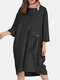 Solid Color O-neck 3/4 Sleeves Loose Dress With Pockets - Black