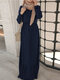 Patchwork Solid Color Long Sleeve Plus Size Maxi Dress - Navy