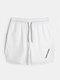 Mens Mesh Stitching Side Split Quick Dry Drawstring Swim Shorts - White