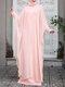 Plus Size Muslim Double Layer Two-piece Chiffon Maxi Dress - Pink