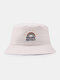 Women & Men Rainbow Embroidery Pattern Casual Outdoor Visor Bucket Hat - Beige