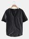 Plus Size Mens Striped V-Neck Short Sleeve Fashion T-Shirt - Black