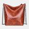 Ladies Textured Soft Leather Handbags Chain Shoulder Bag Rivet Tote Bag - #02