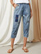 Flower Embroidery Patched Washed Denim Elastic Waist Jeans - Blue