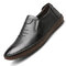 Men Genuine Leather Hand Stitching Non Slip Soft Sole Casual Shoes - Black