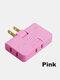 1 PC Flame Retardant Shell 180 Degree Rotating Ultra-thin 2500w High Power Multi-function Plug Converter - Pink
