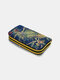 Women Ethnic Pattern Sequined Embroidered Peacock Clutch Bag Wallet - Blue