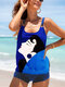 Plus Size Women Abstract Figure Print Backless Cover Belly Tankinis Swimsuit - #1