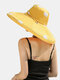 Women Cotton Polka Dot Printing Solid Color Oversized Brim Sun Protection Bucket Hat - Yellow