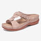 Women Comfy Metal Decor Stitching Hollow Out Soft Slippers - Beige