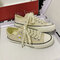 Women Lace Up Solid Color Small Daisies Decor Flats Shoes - Beige