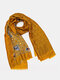 Women Cotton And Linen Dual-use Tassel Floral Pattern Printed Long Scarf Shawl - Orange