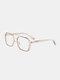 Unisex Large Full Frame Double Bridge Anti-blue Light Anti-UV Vintage Glasses - #05