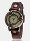 Vintage Thin Band Women Wrist Watch Three Roses Hollow Dial Quartz Watch - Dark Coffee