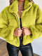 Plush Solid Color Lapel Long Sleeve Casual Coat For Women - Yellow