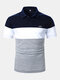 Mens Mountain Embroidery Colorblock Stitching Short Sleeve Golf Shirt - Blue
