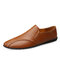 Men Cow Leather Non Slip Collapsible Heel Soft Sole Casual Driving Shoes  - Brown