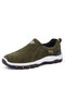 Men Suede Non Slip Outdoor Slip On Casual Hiking Sneakers - Army Green